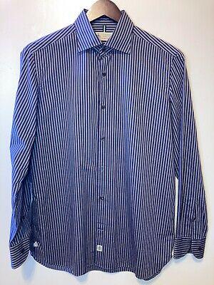 Luigi Borrelli Napoli Purple & Grey Stripe Dress Shirt Made in Italy 16.5 42