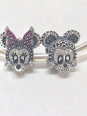Authentic Pandora DISNEY Sparkling Mickey & Minnie Portrait  Charms -