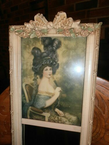 """FRENCH STYLE TRUMEAU MIRROR BARBOLA roses   picture frame 28 1/2"""" x 7 1/2"""""""