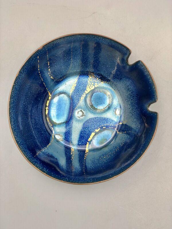 Sascha Brastoff Ashtray MCM Blue/Gold Enamel Bowl-Signed & Numbered