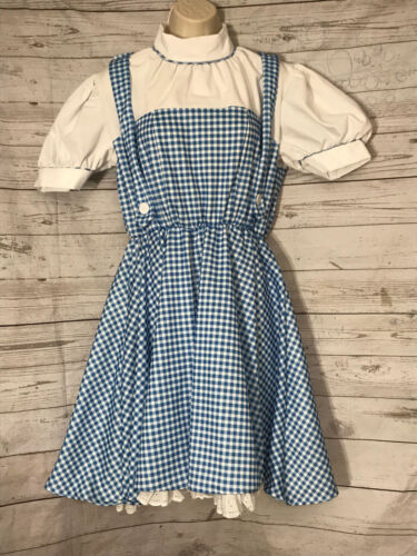The Wizard Of Oz Dorothy Dress Rubies Costume Blue Check Crinoline Lined Medium