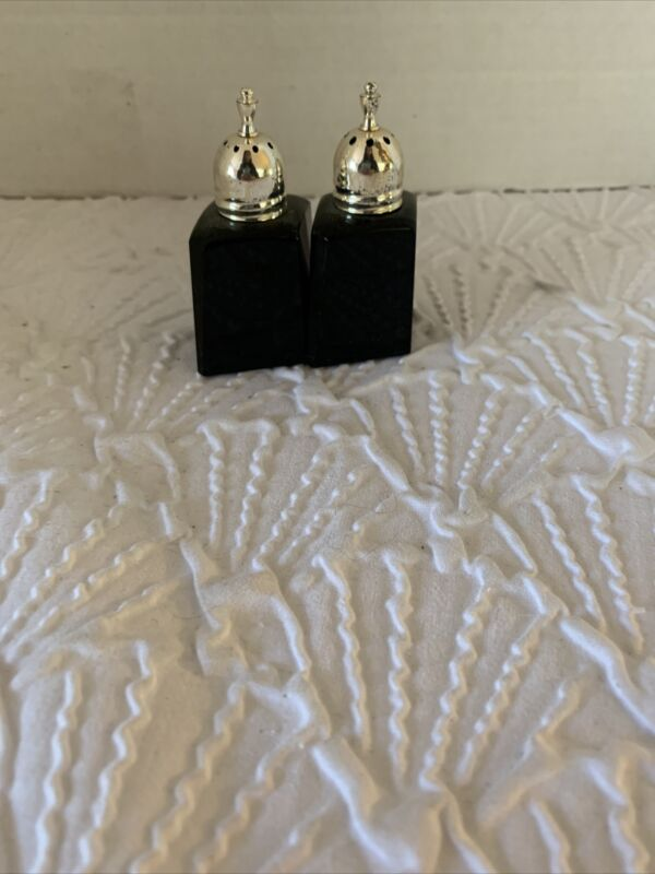 Mikasa Salt and Pepper Shakers Black Crystal Made In Japan