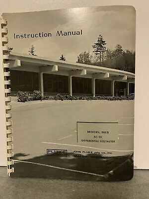 Original Fluke Acdc Differential Voltmeter Model 803 Instruction Manual Rare