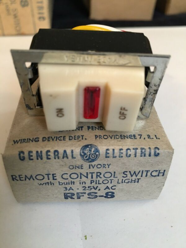 GENERAL ELECTRIC GE RFS-8 TOGGLE HANDLE REMOTE CONTROL SWITCH 3A-25V / IVORY
