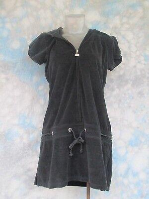 Venus Sz M Black Terry Cloth Short Sleeve Zipper Hooded Womens Dress Euc