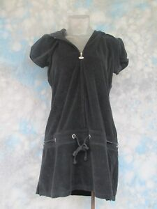 VENUS Sz M Black Terry Cloth Short Sleeve Zipper Hooded Women's Dress EUC