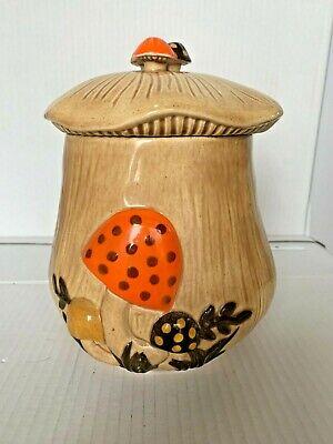 Vintage Bear Resting on a Mushroom Cookie Jar Ceramic Doranne of California