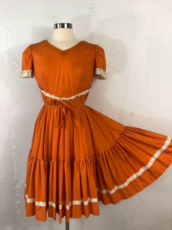 VTG Square Dance Dress Malco Modes Sm Western Rockabilly Orange White Lace Trim