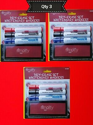 Dry Erase Marker Set White Board Eraser Quality Chisel Tip White Board Qty 3