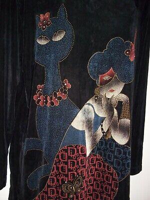 LS Collection by Sunu~Sz L~Black Travel Knit Tunic Blouse CAT/LADY Beads EUC