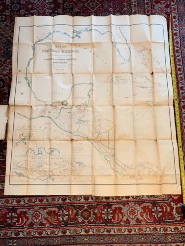 """Rare Large 42x46"""" 1856 Map Central America Yucatan Caribbean Mexico US Canal NR!"""
