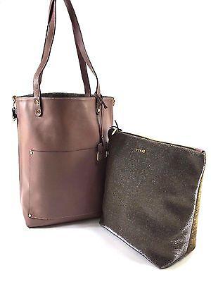 Innue Italian Blush Pink Soft Leather Tote Reverse Metal Gauze Handbag & Purse