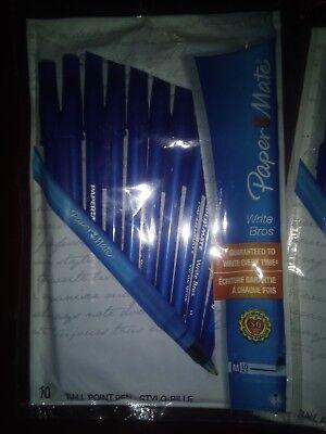 Paper Mate Ball Point Pens Lot Of 3 Pks Of 10 Blue Stylo-bille Pen Stick Pen