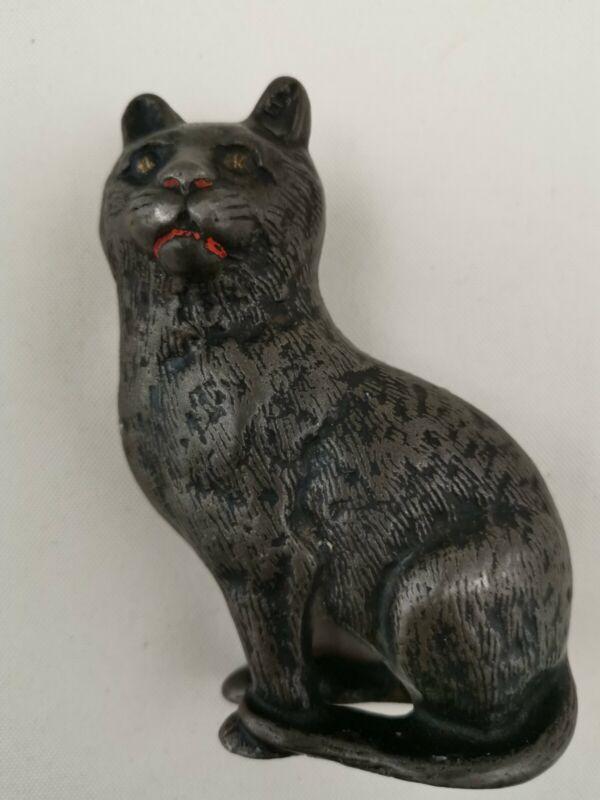 Antique Arcade Cast Iron  Fine Hair Cat   Still Penny Bank