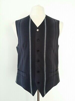 VERSACE CLASSIC V2 Greek Key Navy Purple Vest Crystal Button Sz 50 IT / 40 US L
