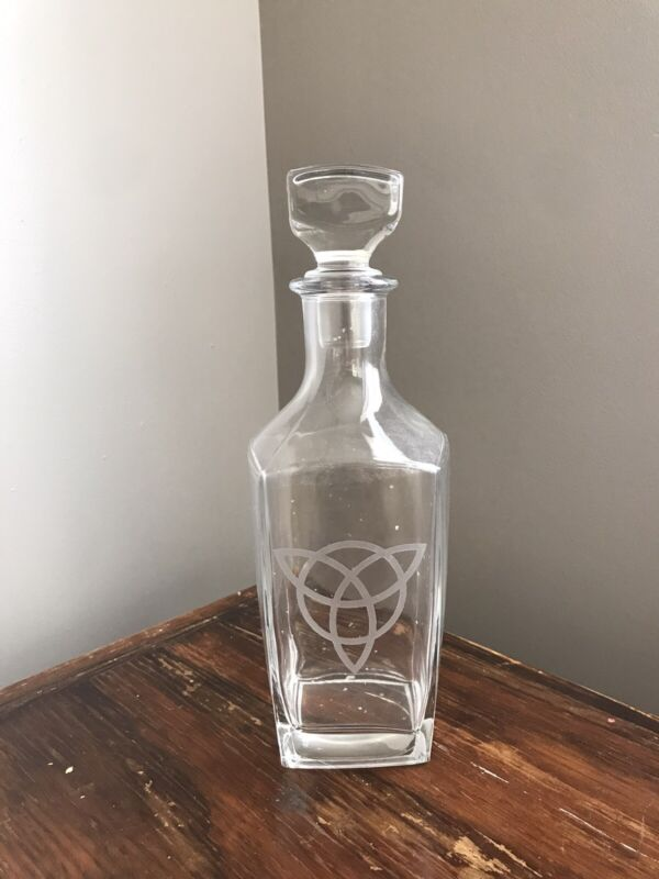 Glass Flask Bottle With TRIQUETRA Symbol Made In France