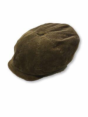 Stetson 8-Panel peak corduroy newsboy flat cap in brown XL New Corduroy Newsboy Cap