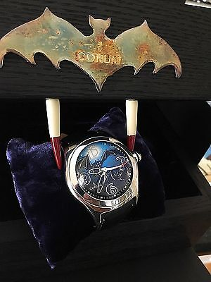 Rare Limited Ed. Corum Bubble Bats Batman 45mm Watch Box Papers & Extra Bands