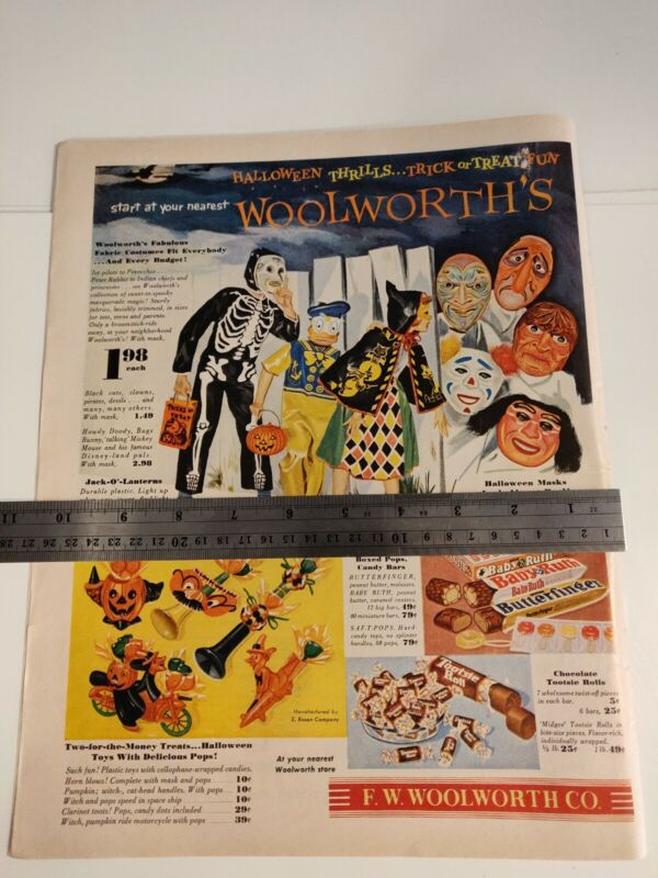 1954 F.W. WOOLWORTH STORE HALLOWEEN COSTUMES MASKS TOYS CANDY VTG PRINT AD