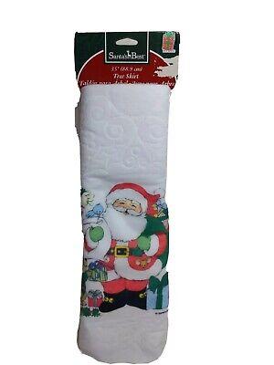 Vintage Santas Best Christmas Tree Skirt White Felt Santa Animals Snowman 35 in