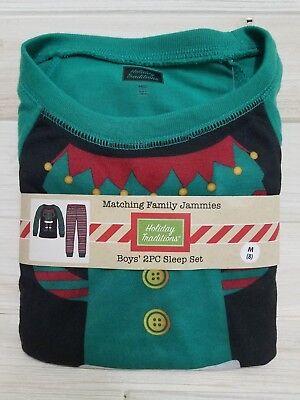 Kids Elf Pajamas (Christmas Holiday Traditions Kids Pajamas ~ Elf ~ Red Green ~ Boys Medium)