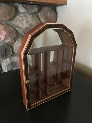 Wall Hanging Wood Curio Cabinet Shadow Box With Glass Door and Mirror Back Glass Wood Shadow Box