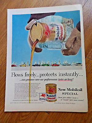 1957 Mobil Gas Oil Mobilgas Mobiloil Ad Flows Freely Protects Instantly Winter