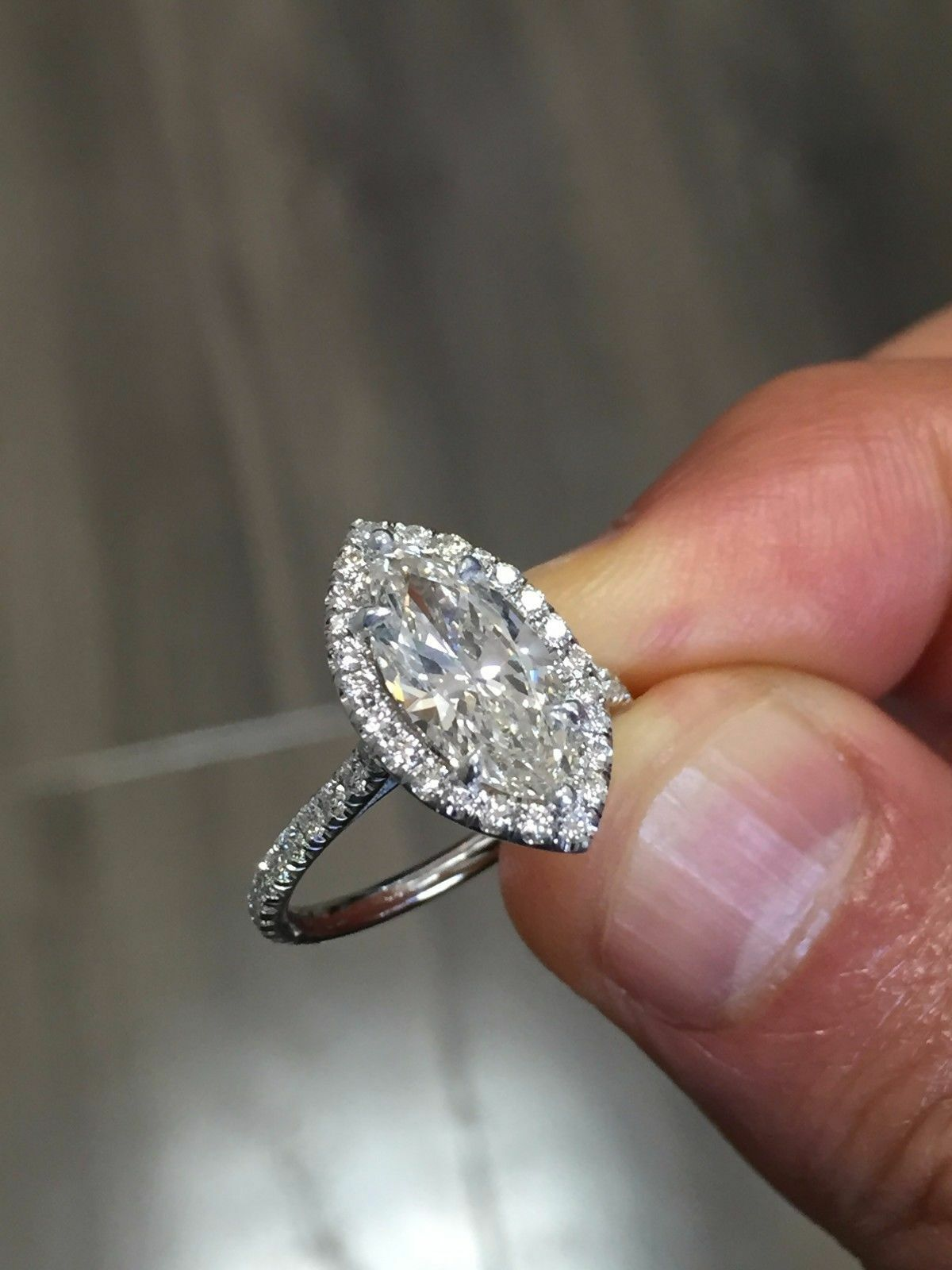 1.50 Ct Halo Marquise Cut Diamond Engagement Ring U Setting  H,VS2 GIA 18K WG 1