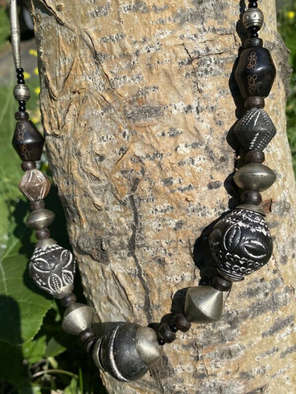 """Africa Trade Bead Necklace Silver Terra Clay Ebony Mali Berber Spindle Whorl 24"""""""