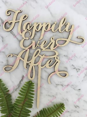 Happily Ever After Cake Topper (Happily Ever After Rustic Wood Engagement Wedding Cake)
