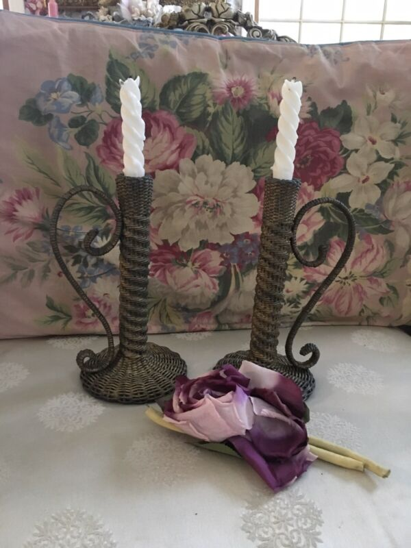 Beautiful Rare Antique Victorian Pair Wicker Candlesticks 1880-1920 #4