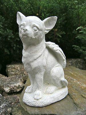 Chihuahua Dog Angel, White Concrete Garden Statue, Cement Pet Memorial, Marker