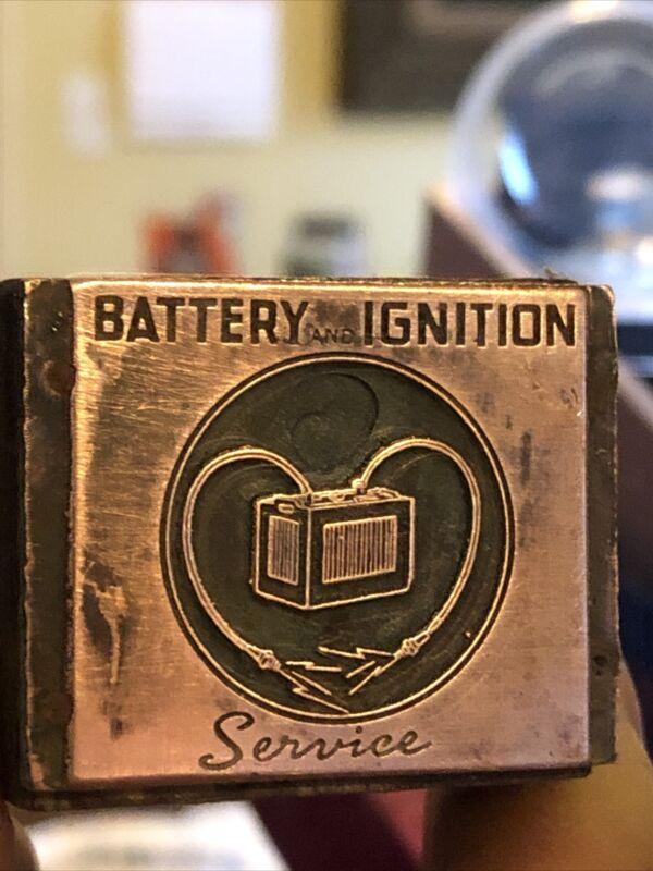 "Vintage Wood & Metal Metal Printing Print Block Stamps, Battery Ignition Serv """