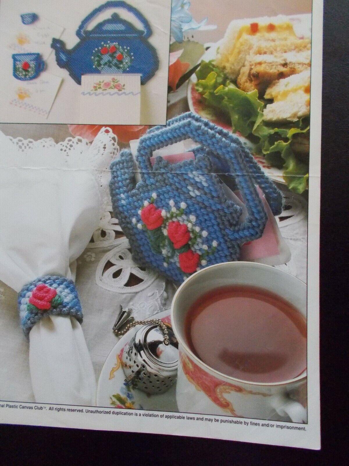 Teapot Set Plastic Canvas Patterns 1991 Annie's, Note Holder