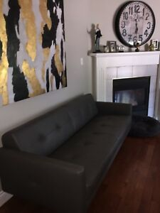 Grey Italian Leather Sofa