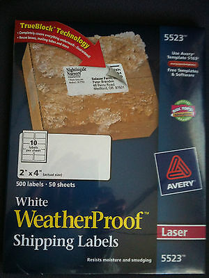 Avery 5523 White Weatherproof Shipping Labels 2x4 New Free Shipping