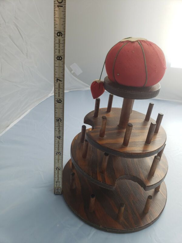 Vintage Wooden  3 Tier 27 Thread Spool Holder W Pin Cushion