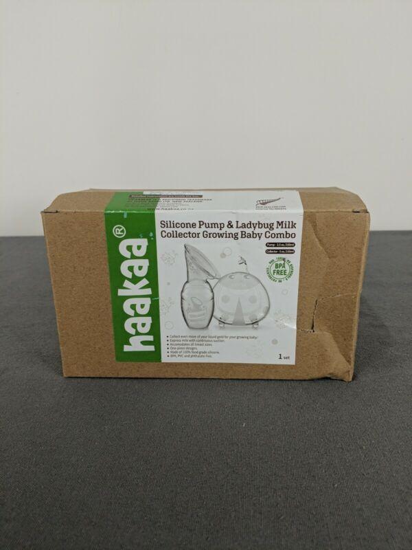 Silicone Breast Pump Manual & Ladybug Milk Collector Combo New Haakaa