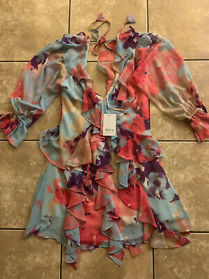 NWT Misa Los Angeles XS V Neck Back Tie Mini Ruffle Dress Multi Color Print Boho