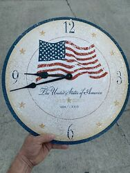 "Vintage 18"" Howard Miller® Moment In Time  Old Glory USA FLAG Wall Clock ❤️sj7m"