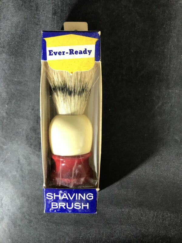 NOS NEW VTG Ever Ready Shaving Brush C-40 Red And Beige Handle New in Box Men