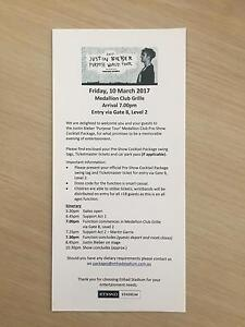 2 x Justin Bieber VIP Medallion Club Tickets Berwick Casey Area Preview