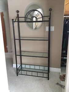 Black Powder Coated metal w/glass shelf units (have 2 to sell)