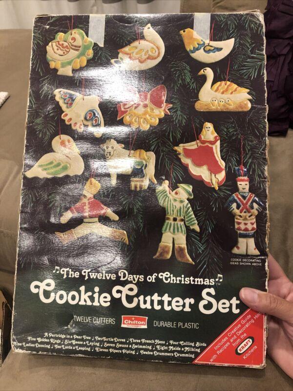 Vintage 12 Twelve Days Of Christmas Cookie Cutter Set 1978 Chilton Kraft Plastic