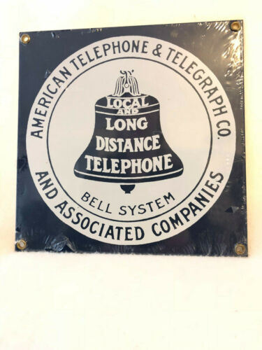"""American Telephone and Telegraph Co. Porcelain Sign Ande Rooney 8"""""""