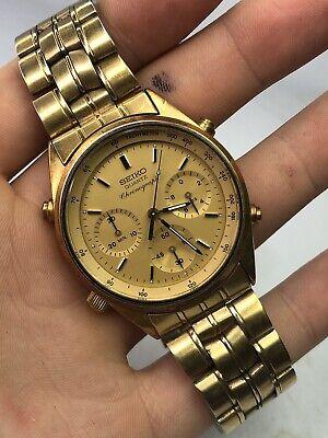 Vintage 1984 Seiko 7A28-7029 Gold Plated Chronograph Men's Quartz Watch - Runs!
