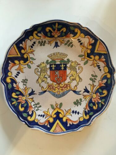 Antique French Faience Armorial Plate Angers