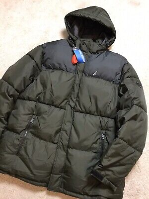 NAUTICA Colour Block Hooded Puffer Coat Olive (Size XXL) RRP US$295