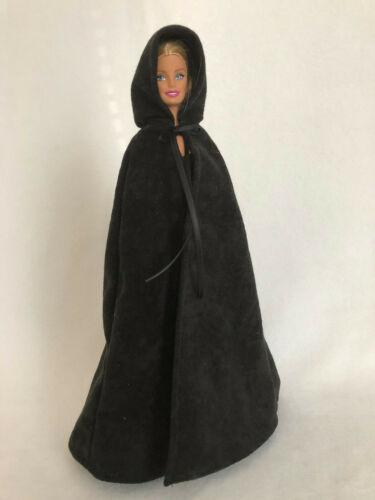 Barbie Black Cape with Hood Handmade Faux Suede