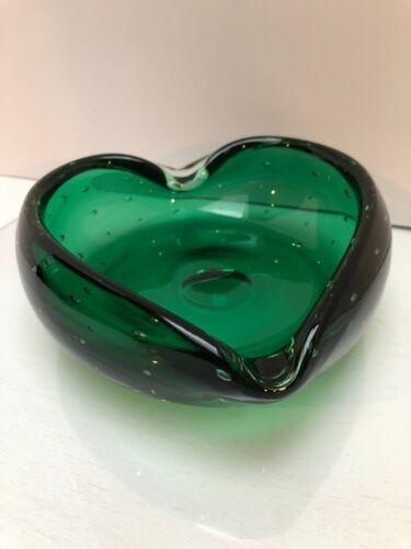Vintage Murano Art Glass Green Bullicante Controlled Bubble Heart Shaped Bowl